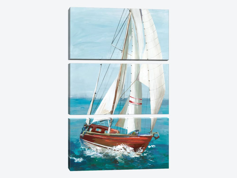 Single Sail II by Allison Pearce 3-piece Canvas Art Print