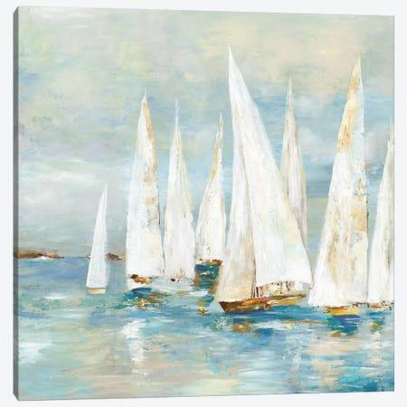 White Sailboats Canvas Print #ALP311} by Allison Pearce Canvas Art