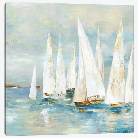 White Sailboats Canvas Print #ALP311} by Allison Pearce Canvas Art