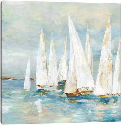 White Sailboats Canvas Art Print