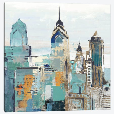 Teal City II Canvas Print #ALP347} by Allison Pearce Canvas Wall Art