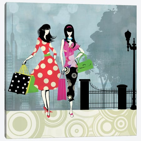 Girls Gone Shopping Canvas Print #ALP91} by Allison Pearce Canvas Wall Art