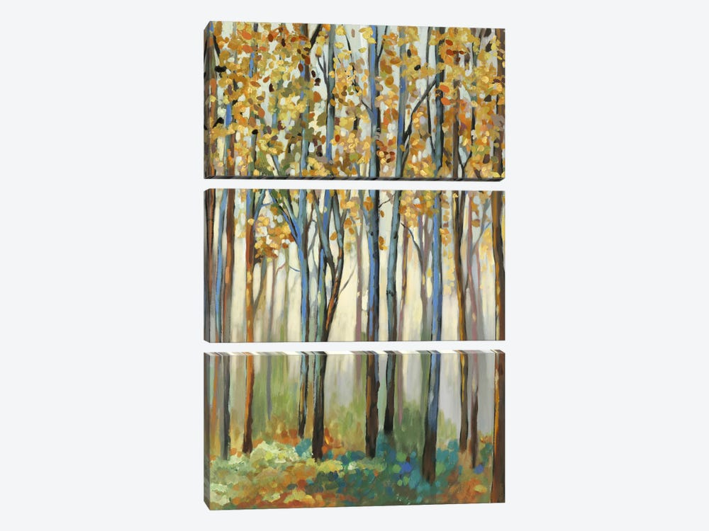 Golden Leaves by Allison Pearce 3-piece Canvas Print