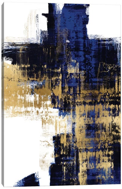 Dynamic Gold on Blue II Canvas Art Print