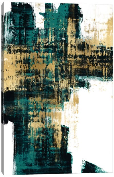 Infatuation Gold on Teal I Canvas Art Print