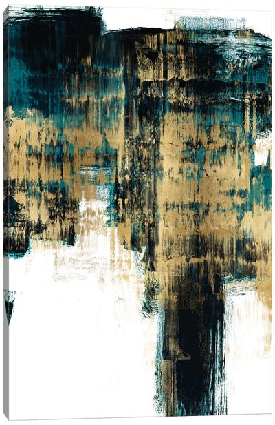 Infatuation Gold on Teal II Canvas Art Print
