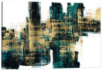 Vibrant Gold on Teal Canvas Art Print