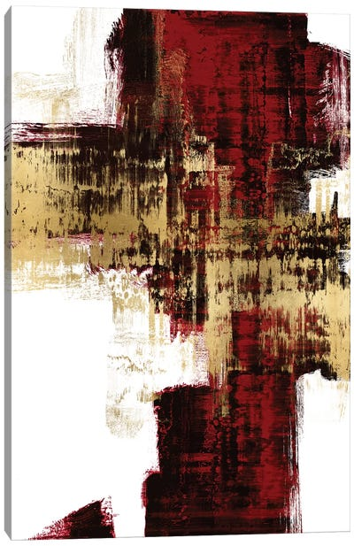 Kinetic Gold on Red I Canvas Art Print