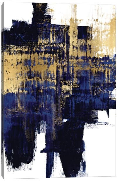 Dynamic Gold on Blue I Canvas Art Print