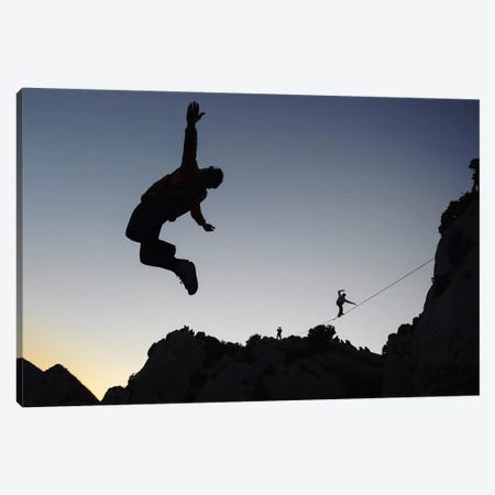 Base Jumping And Highlining, Dalles Grises, Gorges du Verdon, Alpes-de-Haute-Provence, Provence-Alpes-Cote d'Azur Region, France Canvas Print #ALX11} by Alex Buisse Canvas Wall Art