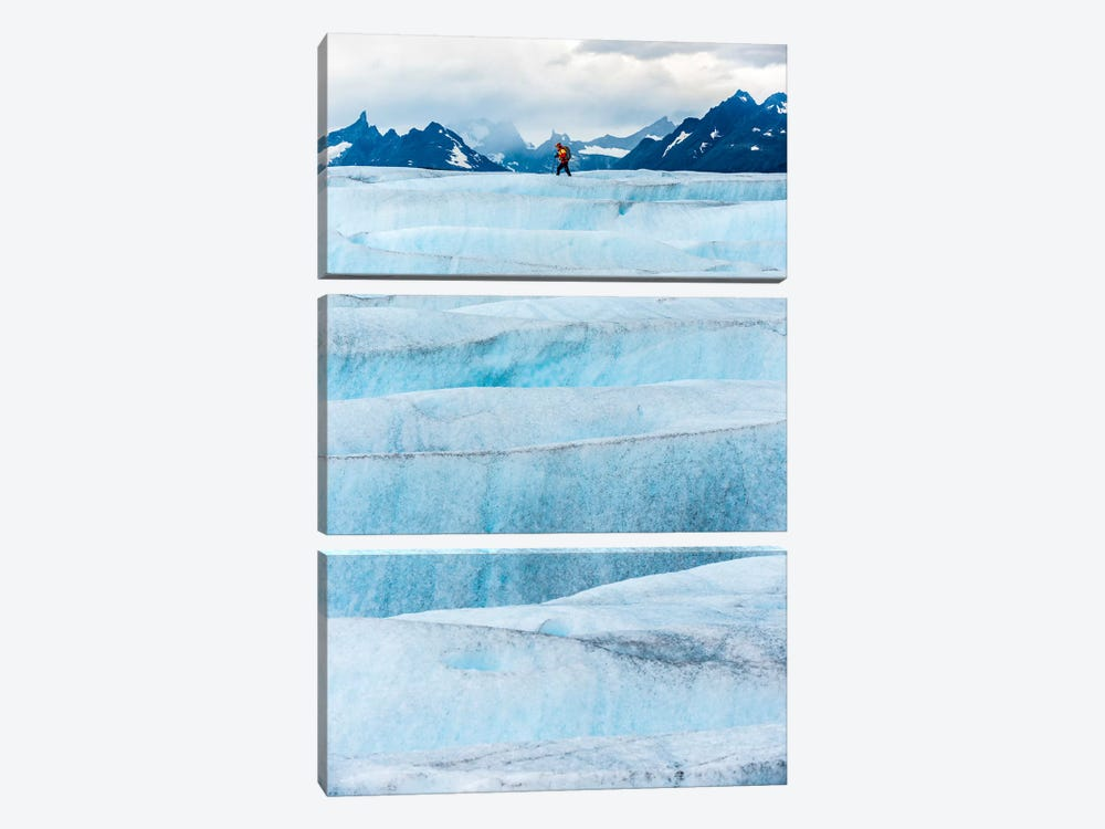Crossing Tyndall Glacier, Patagonian Ice Cap, Patagonia, Chile 3-piece Canvas Art