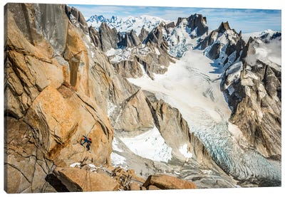 A Climber High On The Comesana-Fonrouge Route, Aguja Guillaumet, Patagonia, Argentina Canvas Art Print