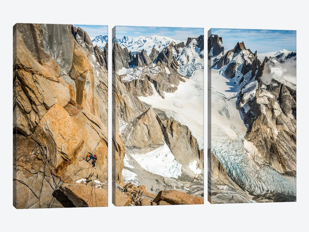 Day Climb, Comesana-Fonrouge Route, Aguja Guillaumet, Patagonia, Argentina by Alex Buisse 3-piece Canvas Print