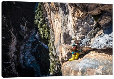 Freesolo Climb, Gorges du Verdon, Alpes-de-Haute-Provence, Provence-Alpes-Cote d'Azur Region, France Canvas Art Print