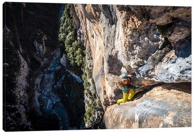 Freesolo Climb, Gorges du Verdon, Alpes-de-Haute-Provence, Provence-Alpes-Cote d'Azur Region, France Canvas Art Print