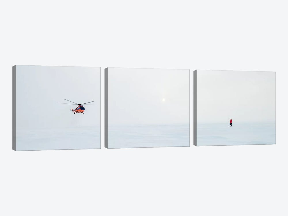 Helicopter Landing, North Pole by Alex Buisse 3-piece Canvas Wall Art