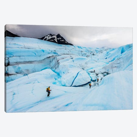 A Team Of Trekkers Cross The Massive Tyndall Glacier In Torres Del Paine, Patagonia, Chile Canvas Print #ALX23} by Alex Buisse Art Print
