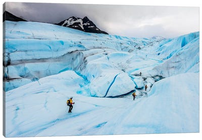 A Team Of Trekkers Cross The Massive Tyndall Glacier In Torres Del Paine, Patagonia, Chile Canvas Art Print