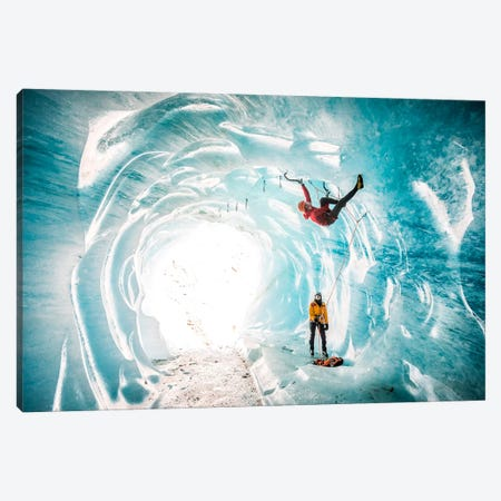 A Climber Inside A Crevasse Of Mer De Glace, Chamonix, Haute Savoie, France Canvas Print #ALX24} by Alex Buisse Canvas Artwork