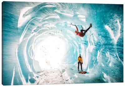 A Climber Inside A Crevasse Of Mer De Glace, Chamonix, Haute Savoie, France Canvas Art Print