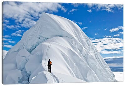 Last Obstacle Before The Summit, Nevado Chopicalqui, Cordillera Blanca, Andes, Yungay Province, Ancash Region, Peru Canvas Art Print