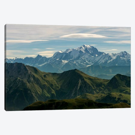 Mont Blanc As Seen From The Summit Of La Tournette, Talloires, Haute-Savoie, Auvergne-Rhone-Alpes, France Canvas Print #ALX28} by Alex Buisse Art Print