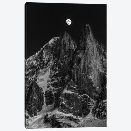 Moonrise Over Aiguille des Drus, Chamonix, Haute-Savoie, Auvergne-Rhone-Alpes, France Canvas Print #ALX29} by Alex Buisse Art Print
