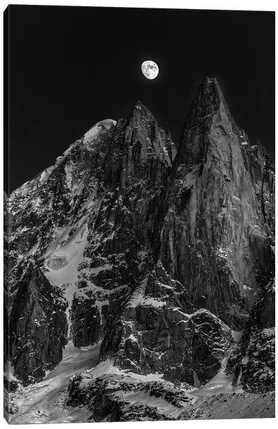 Moonrise Over Aiguille des Drus, Chamonix, Haute-Savoie, Auvergne-Rhone-Alpes, France Canvas Art Print
