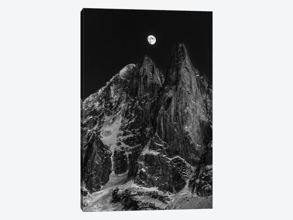 Moonrise Over Aiguille des Drus, Chamonix, Haute-Savoie, Auvergne-Rhone-Alpes, France by Alex Buisse 1-piece Canvas Wall Art