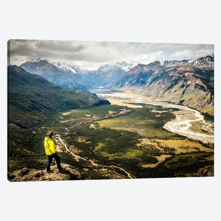A Lone Trekker Near The Summit Of Cerro Rosado, Above El Chaltén, Patagonia, Argentina Canvas Print #ALX2} by Alex Buisse Canvas Art Print