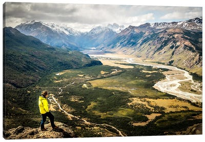A Lone Trekker Near The Summit Of Cerro Rosado, Above El Chaltén, Patagonia, Argentina Canvas Art Print