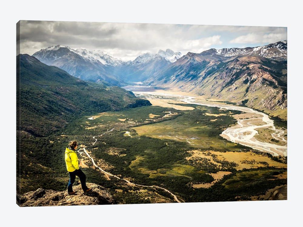 A Lone Trekker, Cerro Rosado, Patagonia, Argentina by Alex Buisse 1-piece Art Print