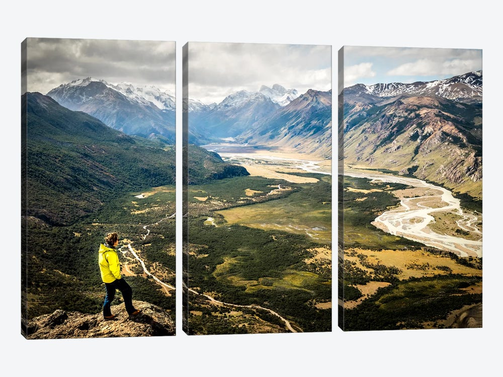 A Lone Trekker, Cerro Rosado, Patagonia, Argentina by Alex Buisse 3-piece Art Print