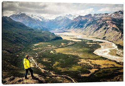 A Lone Trekker Near The Summit Of Cerro Rosado, Above El Chaltén, Patagonia, Argentina Canvas Art Print