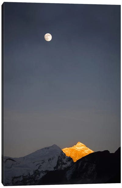 Moonrise Over Makalu, Mahalangur Himal, Himalaya Mountain Range, Khumbu, Nepal Canvas Art Print