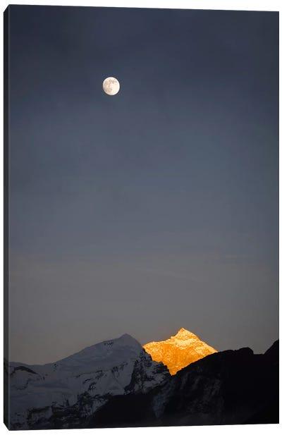 Moonrise Over Makalu, Mahalangur Himal, Himalaya Mountain Range, Khumbu, Nepal Canvas Art Print
