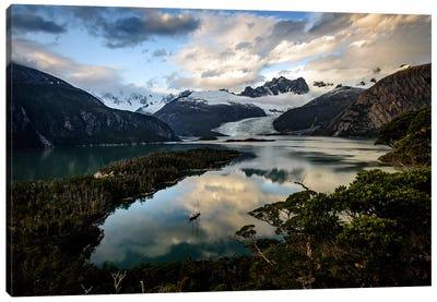 A Moored Expedition Yacht Oncaleta Beaulieu, Beagle Channel, Tierra del Fuego Archipelago, Patagonia Canvas Art Print