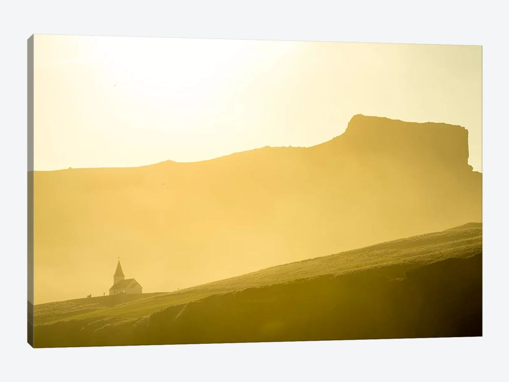 Mountaintop Church, Vik i Myrdal, Sudurland, Iceland 1-piece Canvas Art
