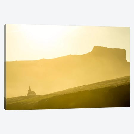 Mountaintop Church, Vik i Myrdal, Sudurland, Iceland Canvas Print #ALX32} by Alex Buisse Canvas Wall Art