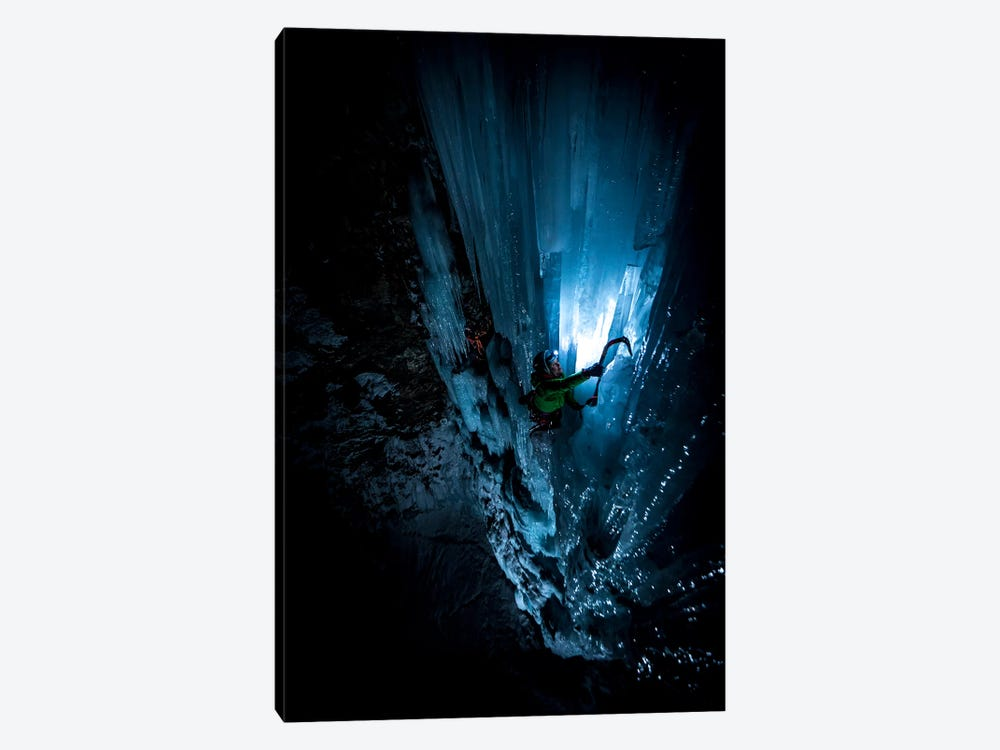 Night Climb, Lau Bij Frozen Waterfall, Cogne, Gran Paradiso, Aosta Valley Region, Italy by Alex Buisse 1-piece Canvas Art Print