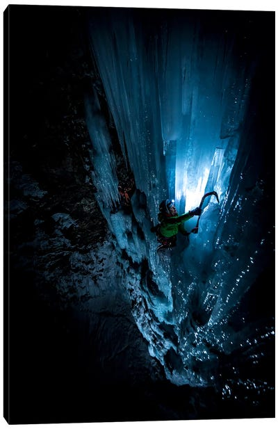 Night Climb, Lau Bij Frozen Waterfall, Cogne, Gran Paradiso, Aosta Valley Region, Italy Canvas Art Print