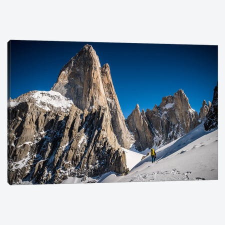 A Climber Reaches Paso Superior Below Cerro Fitzroy, Patagonia, Argentina Canvas Print #ALX34} by Alex Buisse Canvas Print