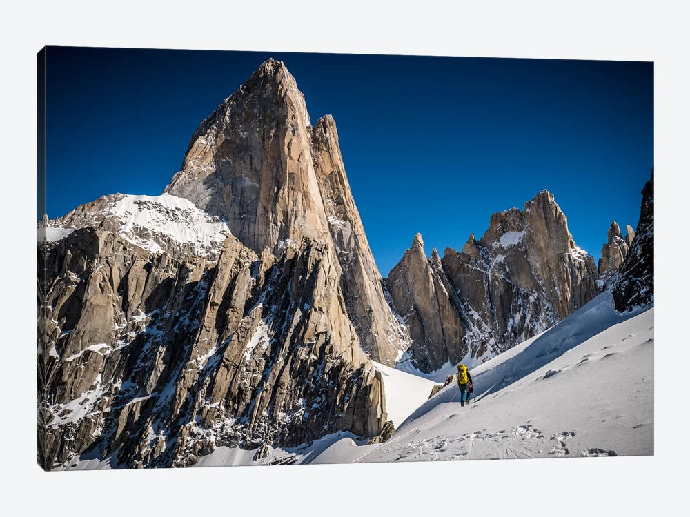 A Climber Reaches Paso Superior Below Cerro Fitzroy, Patagonia, Argentina by Alex Buisse 1-piece Canvas Art