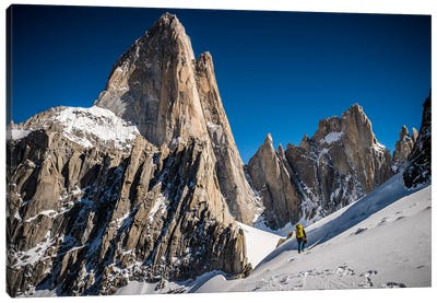 A Climber Reaches Paso Superior Below Cerro Fitzroy, Patagonia, Argentina Canvas Art Print
