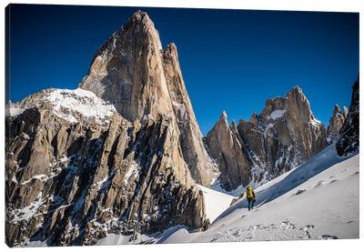 A Climber Reaches Paso Superior Below Cerro Fitzroy, Patagonia, Argentina Canvas Art Print
