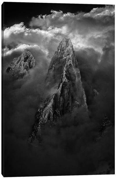 Stormy Weather, Aiguille des Drus, Chamonix, Haute-Savoie, Auvergne-Rhone-Alpes, France Canvas Art Print