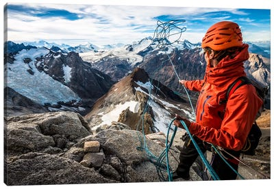 Abseil Preparation, Comesana-Fonrouge Route, Aguja Guillaumet, Patagonia, Argentina Canvas Art Print