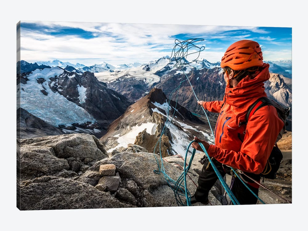 Abseil Preparation, Comesana-Fonrouge Route, Aguja Guillaumet, Patagonia, Argentina by Alex Buisse 1-piece Canvas Artwork
