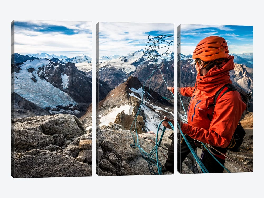 Abseil Preparation, Comesana-Fonrouge Route, Aguja Guillaumet, Patagonia, Argentina by Alex Buisse 3-piece Canvas Art