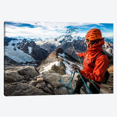 Abseil Preparation, Comesana-Fonrouge Route, Aguja Guillaumet, Patagonia, Argentina Canvas Print #ALX3} by Alex Buisse Canvas Art Print